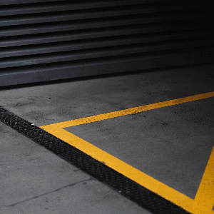 factory caution yellow line marking hatching