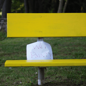 wet paint sign yellow